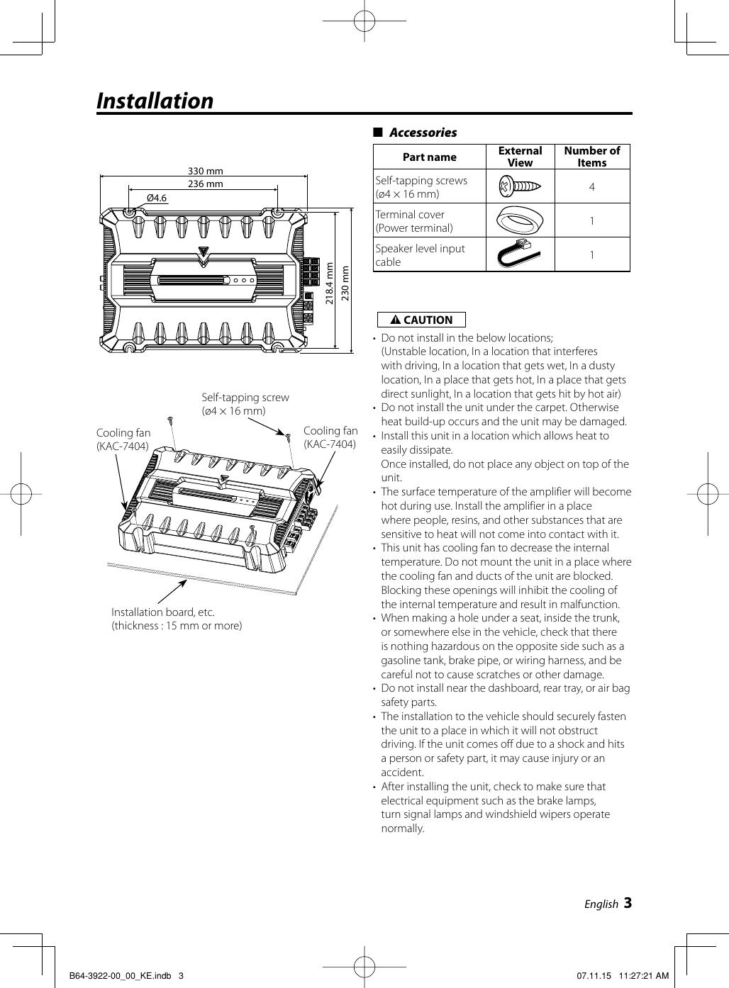 Kenwood KAC 7404 B64 3922 00_00_KE.indb User Manual To The ... on