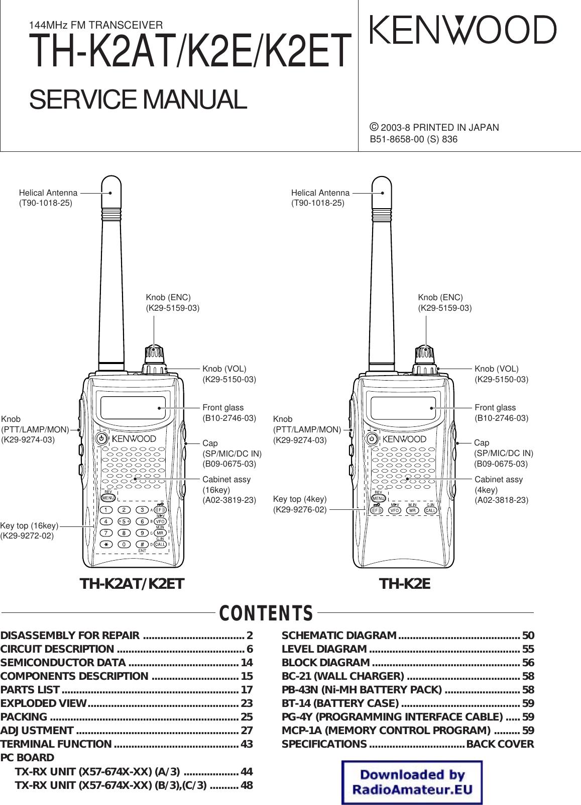 Kenwood 144mhz Fm Transceiver K2e Users Manual Th K2at K2et Service Dtmf Code Radio Transmission Circuit Diagram