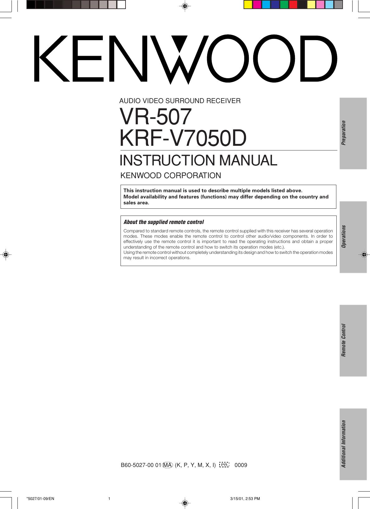 Kenwood 5 1 Krf V7050d Users Manual 5027 01 09 En Stereo Wiring Diagram For Surround Sound