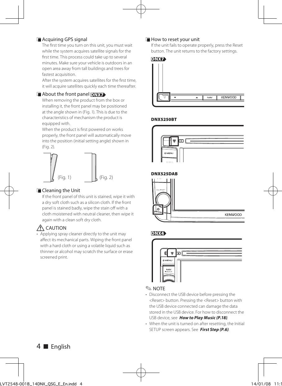Kenwood Dnx 4250 Bt Quick Start Manual