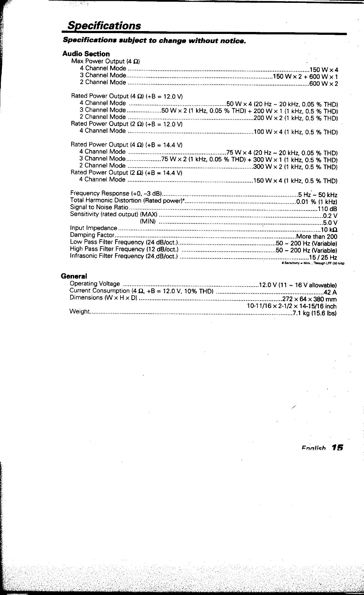 Kenwood Excelon Kac X501F Users Manual on