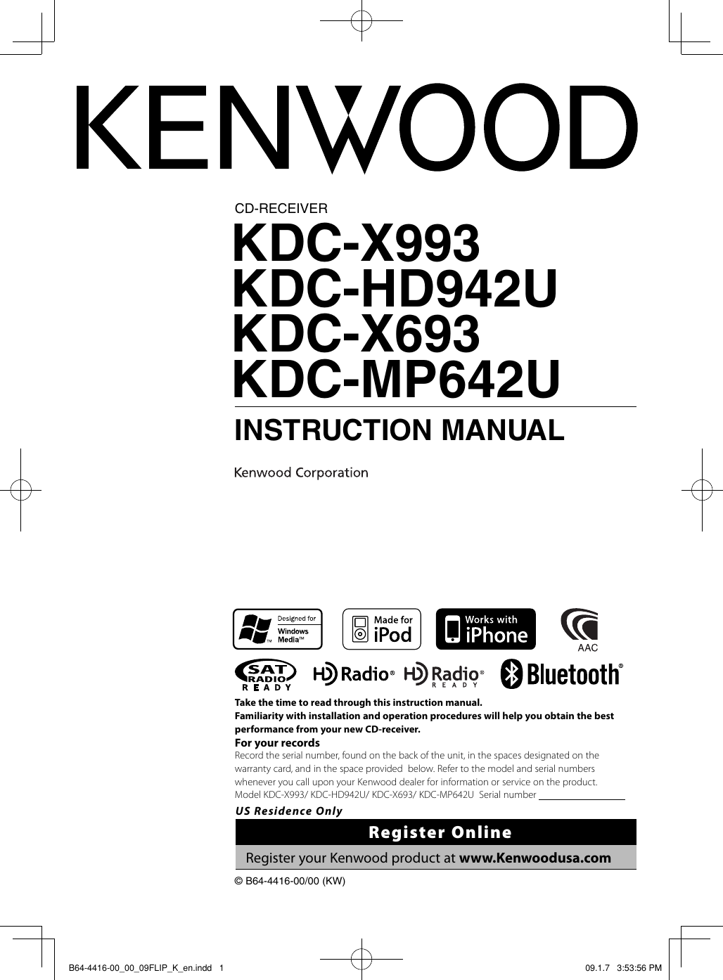 Kenwood Excelon Kdc X693 Users Manual B64 4416 00 09flip K En Wiring Diagram Mp442u
