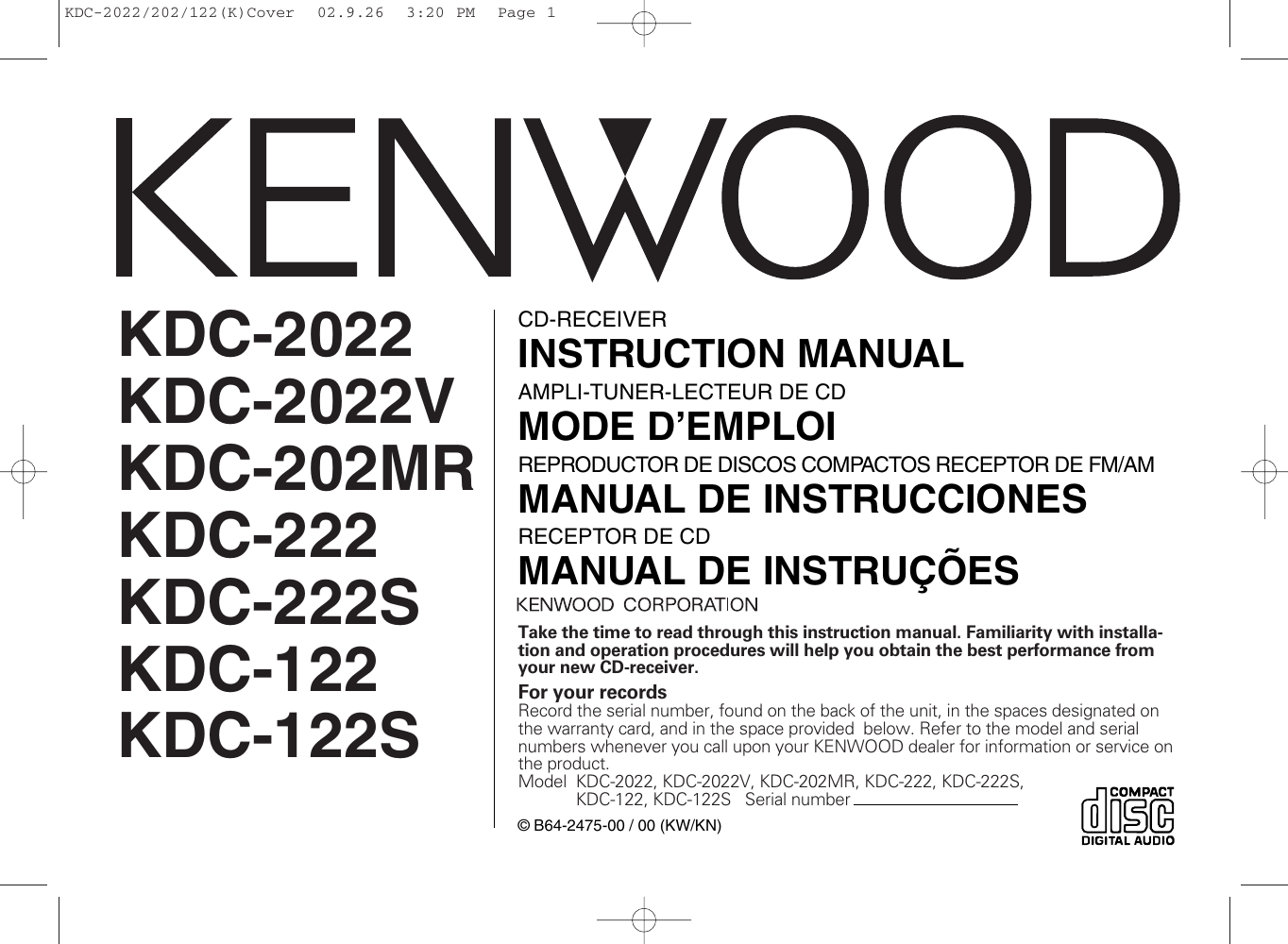 Kenwood Kdc Mp142 Wiring Diagram 222 Electrical Diagrams 202mr Owner S Manual 2022 2022v 222s 122 122s Wire