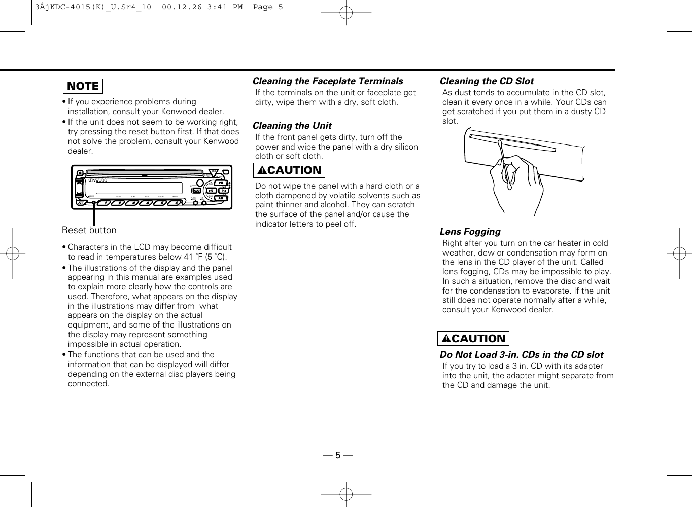 Kenwood Kdc 415S Owner S Manual