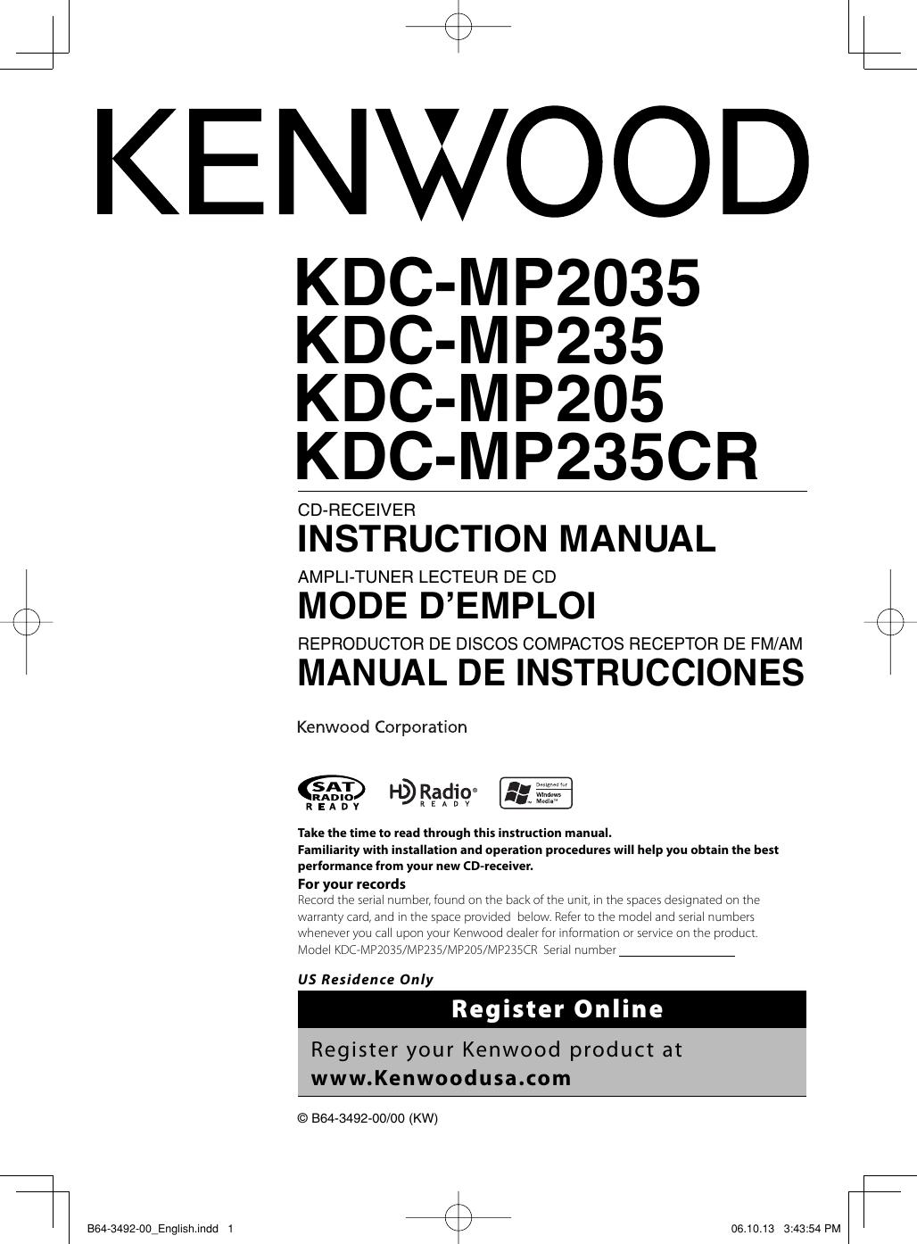 kenwood kdc mp235 owner s manual b64 3492 00_english pioneer wiring diagram head unit kenwood kdc mp205 wiring harness