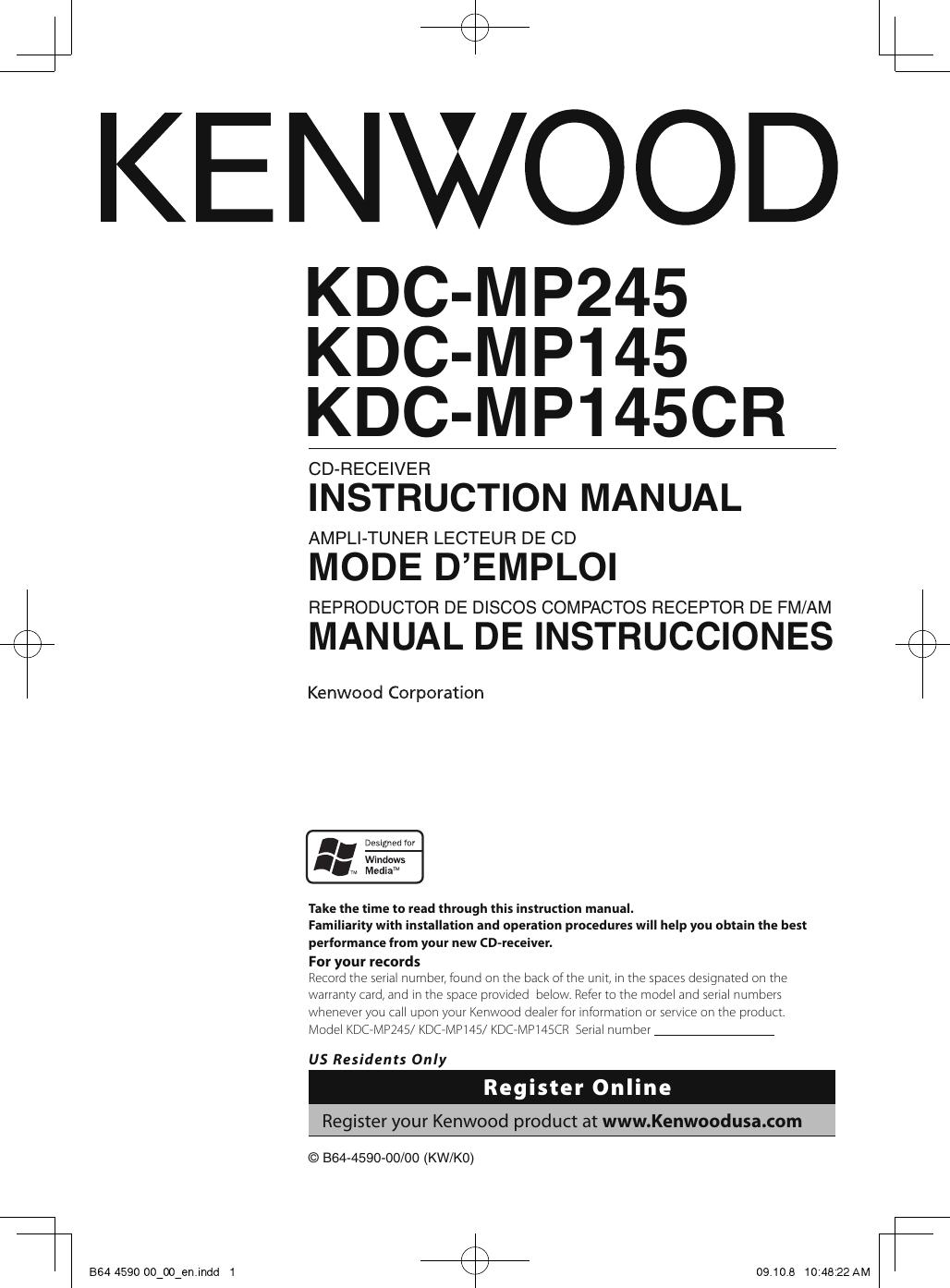 [DIAGRAM_4PO]  Kenwood Kdc Mp245 Users Manual B64 4590 00_00_en | Kenwood Kdc Mp245 Wiring Diagram |  | UserManual.wiki