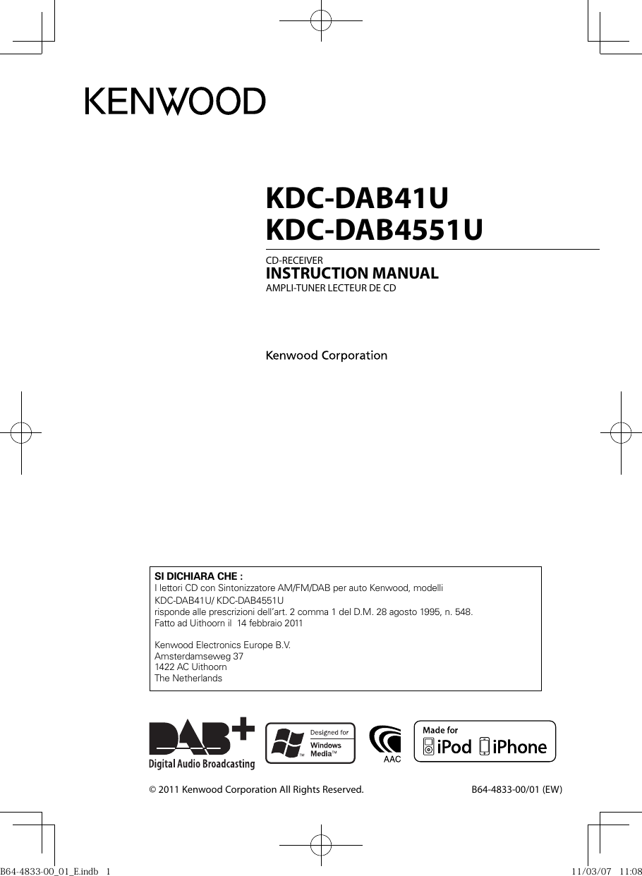 Kenwood Car Stereo System Kdc Dab41U Users Manual B64 4833