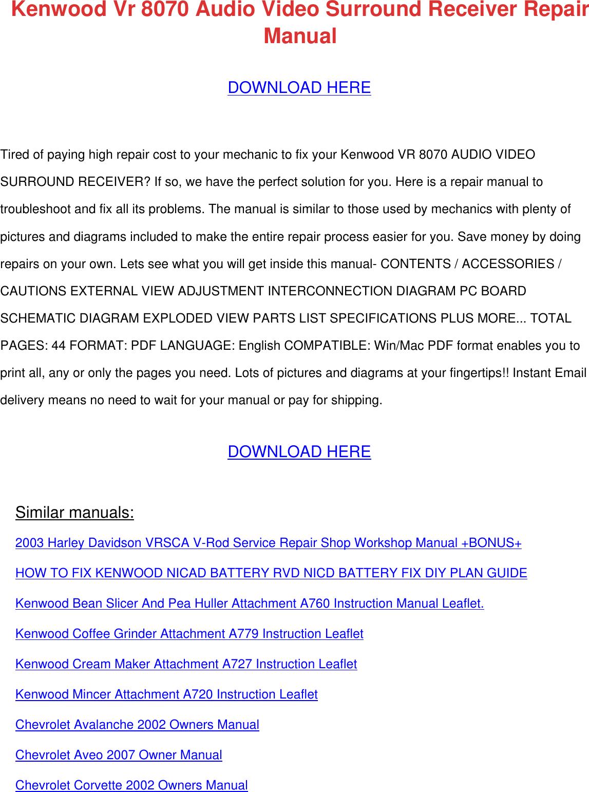 kenwood stereo receiver vr 8070 users manual  usermanual.wiki