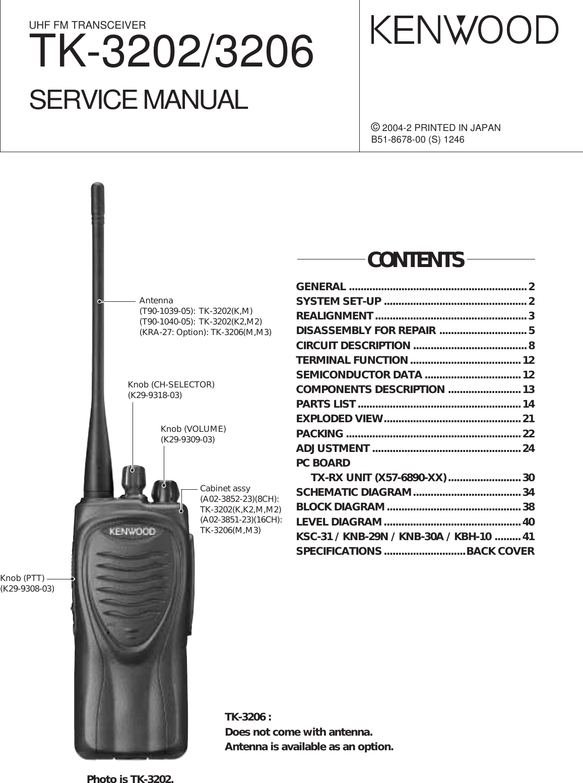 Kenwood Two Way Radio Tk 3202 Users Manual Cover Kmc 41 Microphone Wiring Diagram