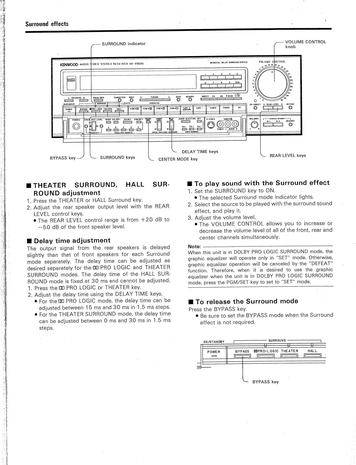 Kenwood Kr V9020 Owner S Manual