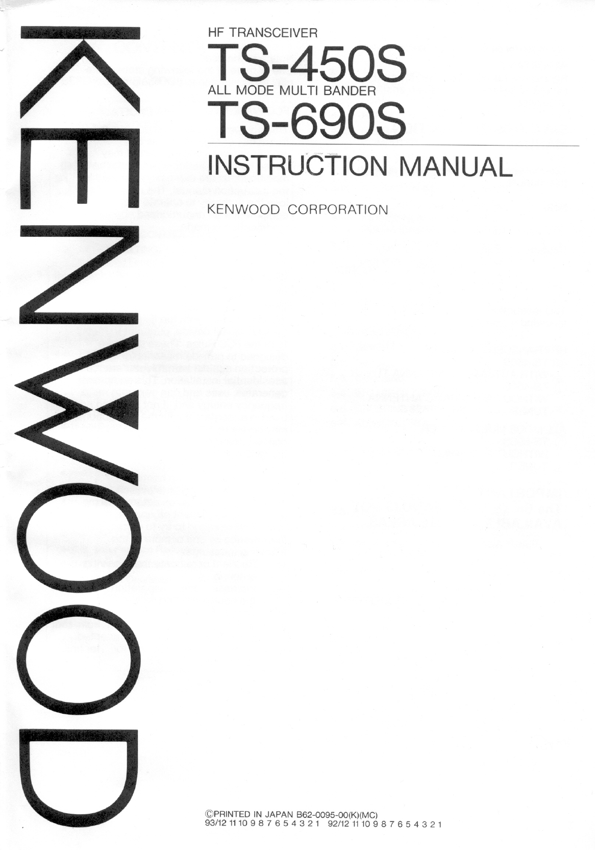 Kenwood Ts 450S Owner S Manual