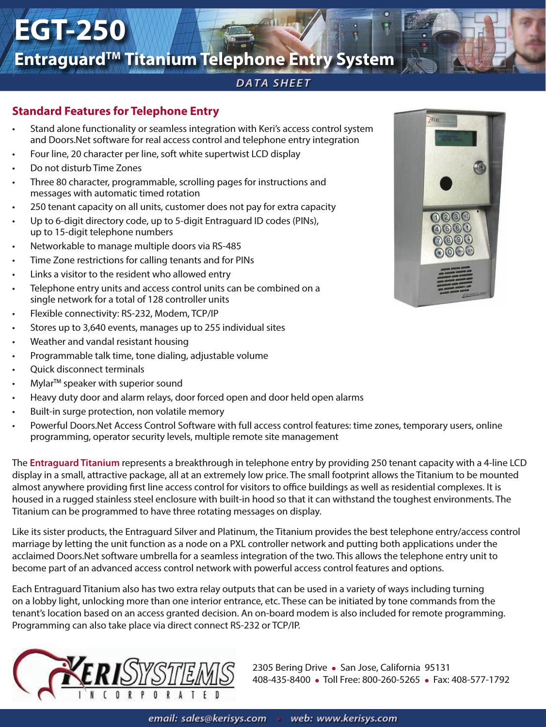 Keri Systems EGT 250 DS W Part#u0027s Entraguard Titanium Telephone Entry System EGT250Data Sheet2015  sc 1 st  UserManual.wiki & Keri Systems EGT 250 DS W Part#u0027s Entraguard Titanium Telephone ...