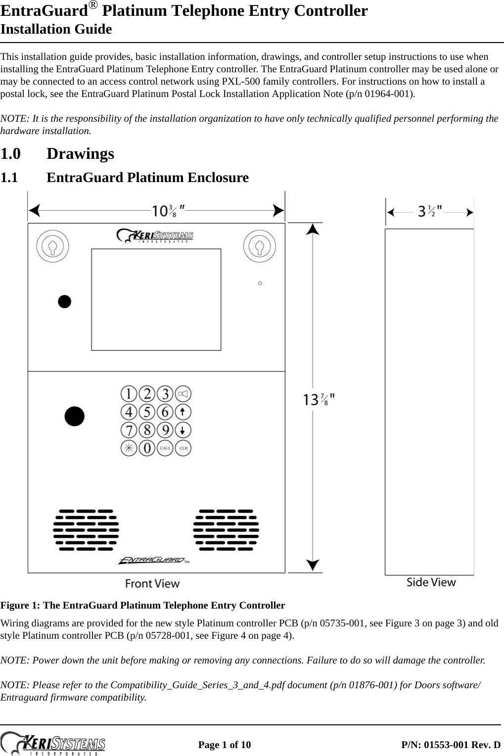 [ZTBE_9966]  Keri Systems EntraGuard_Platinum_Installation_Guide Entra Guard Platinum  Telephone Entry Controller Installation Guide Entraguard | Keri Access Wiring Diagram |  | UserManual.wiki