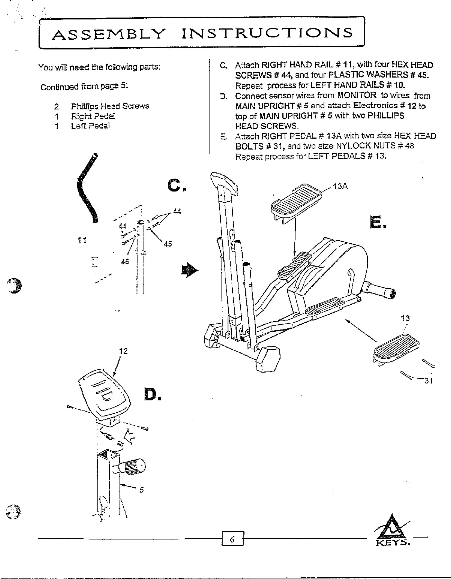 Keys ET 2000 User Manual KEY ELLIPITICAL TRAINER Manuals And ...