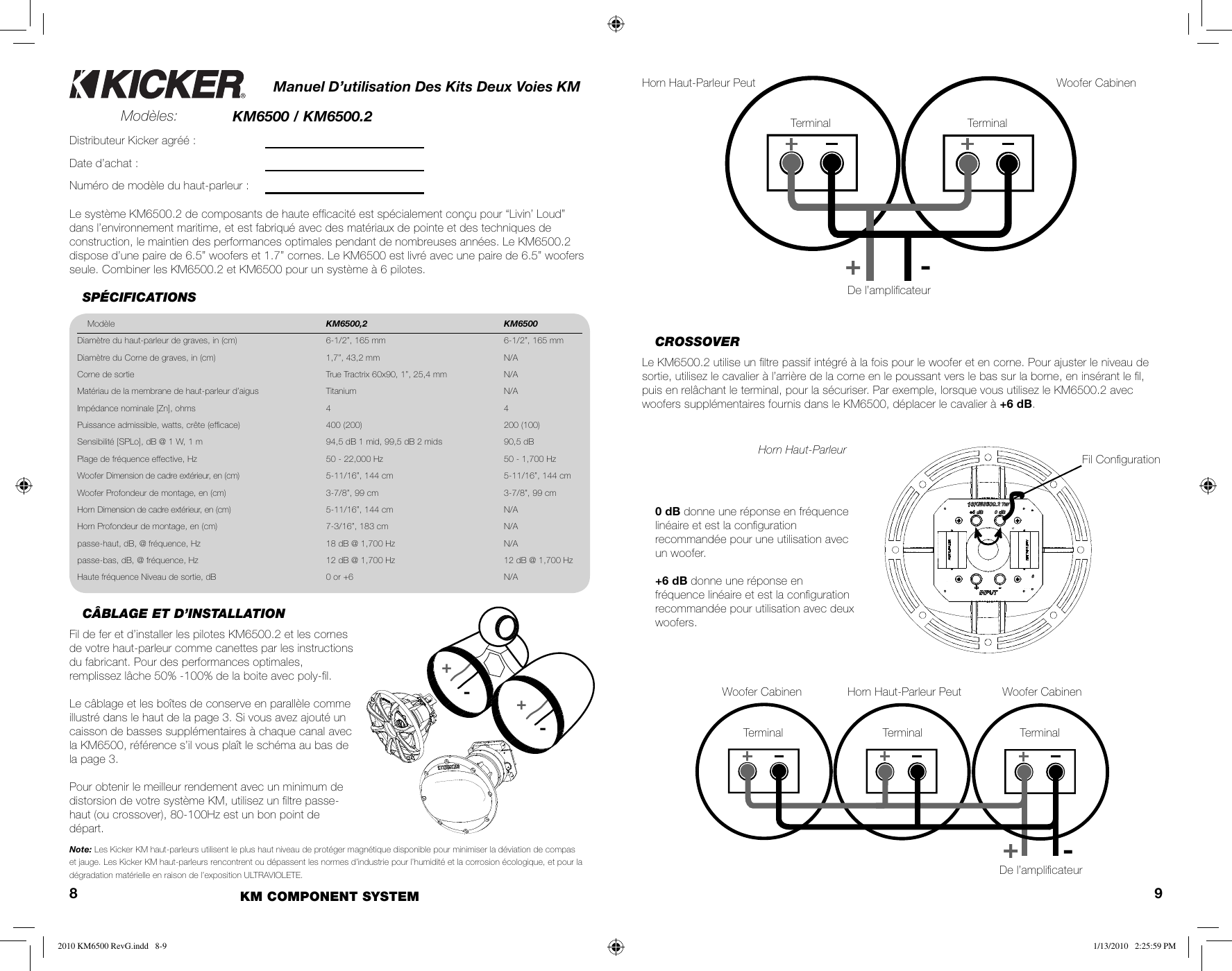 Kicker 2010 Km 6500 2 Component System Owners Manual Km6500 Revg