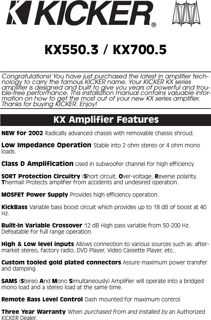 Kicker Kx550 3 And Kx700 5 Owners Manual KX 35 Channel