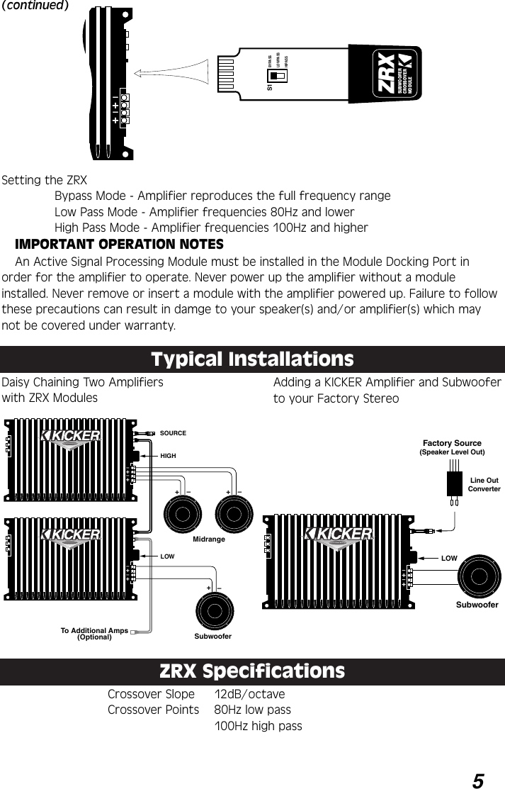 Kicker Zx460 Users Manual Amps Rdrs