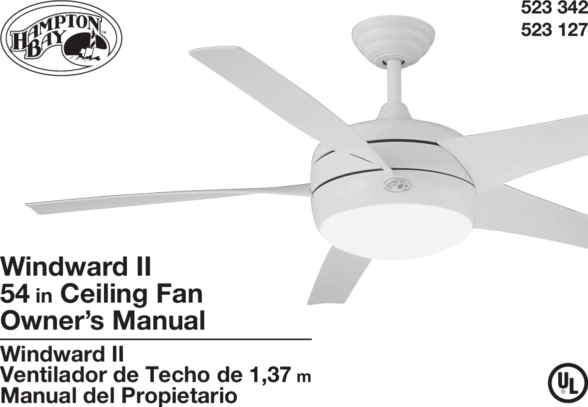 King of Fans 54WWDC 54 inch Windward II User Manual Hampton Bay Receiver M A Wiring Diagram on