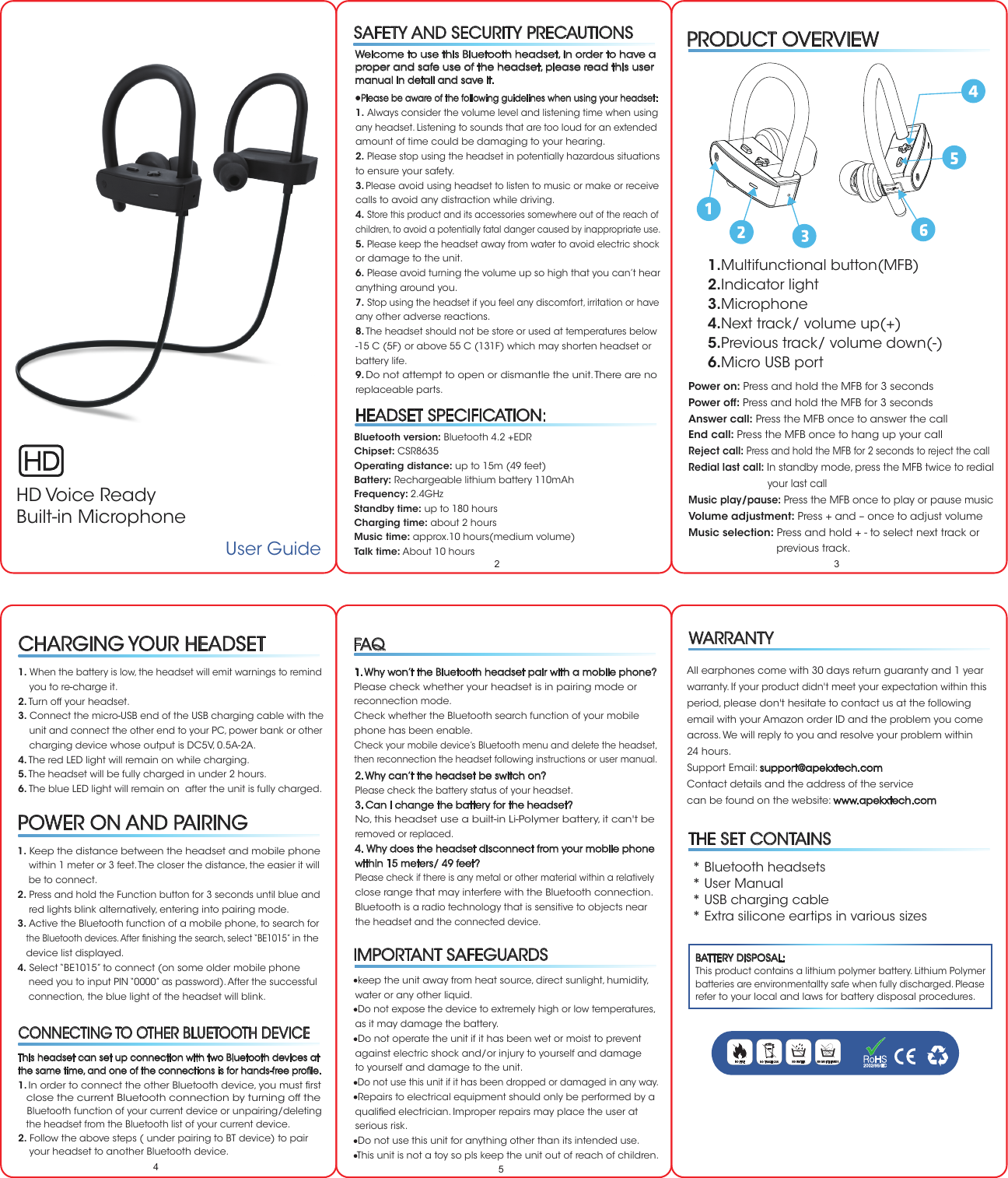 Kinlan Technology Be1015 Bluetooth Earphones User Manual Be1015