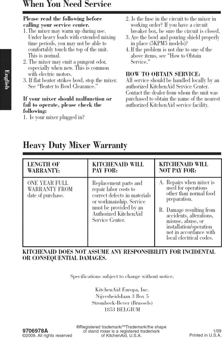 Kitchenaid 5KPM5BER4 User Manual MIXER Manuals And Guides ...
