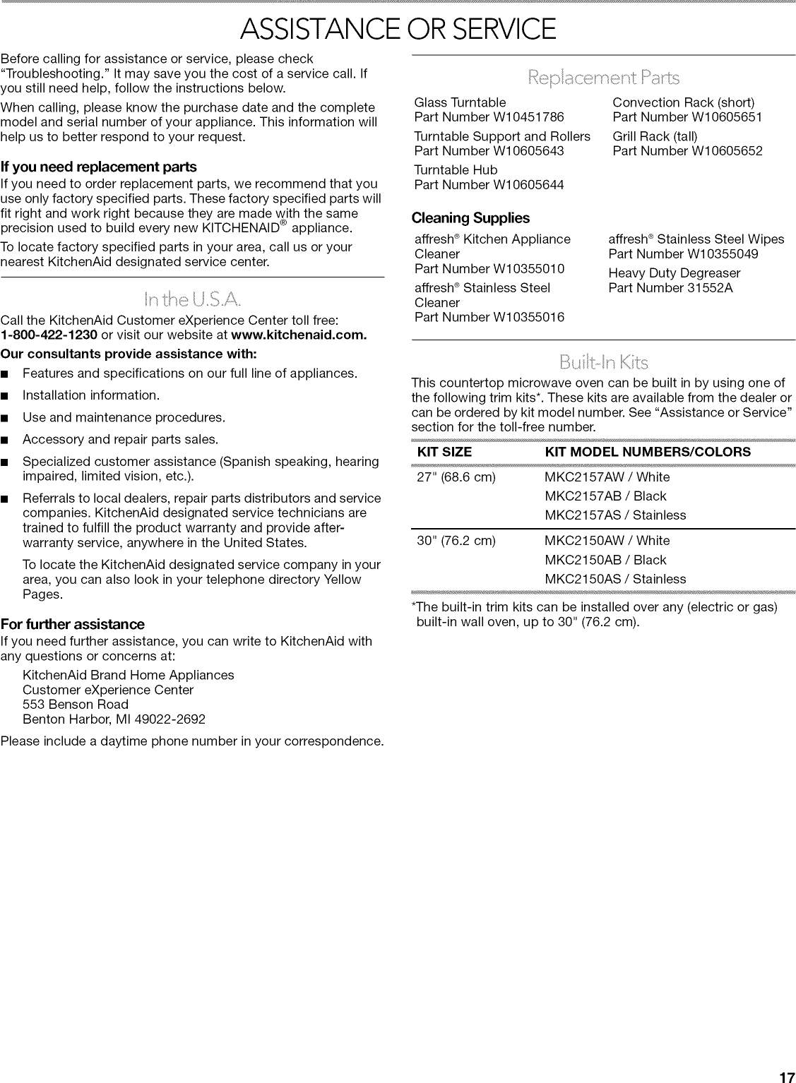 Kitchenaid KCMC1575BSS0 User Manual COUNTERTOP MICROWAVE TURNTABLE