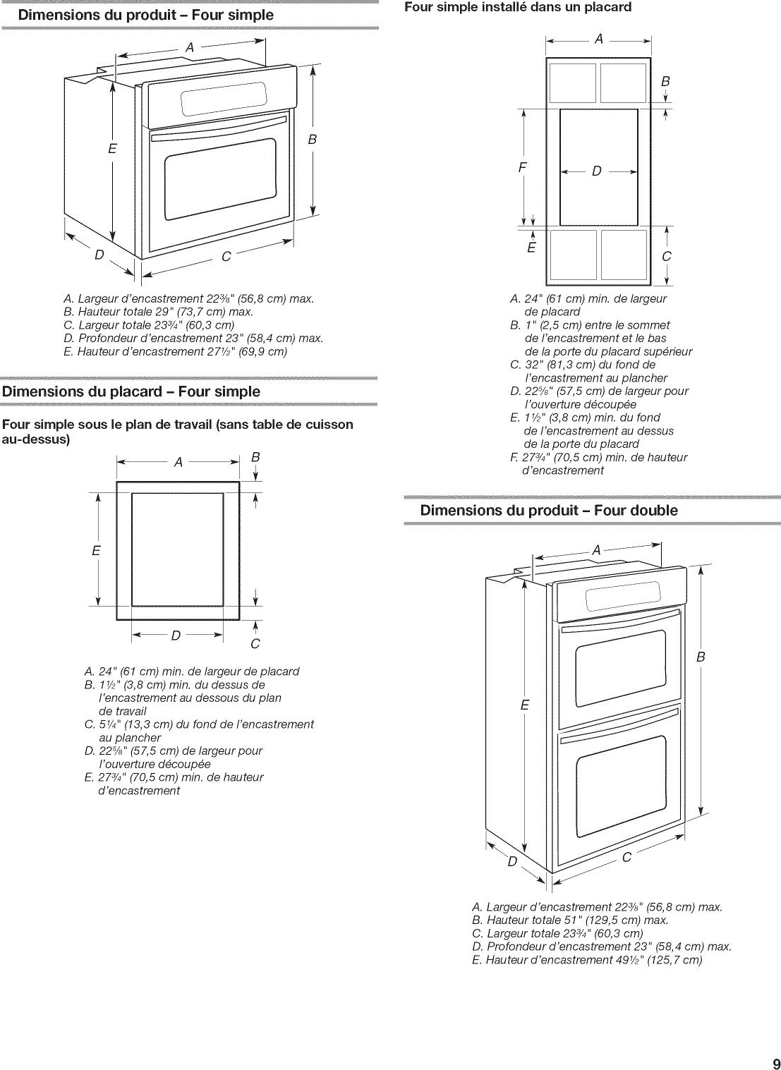 Hauteur Plan De Travail kitchenaid kodc304ebl00 user manual electric oven manuals