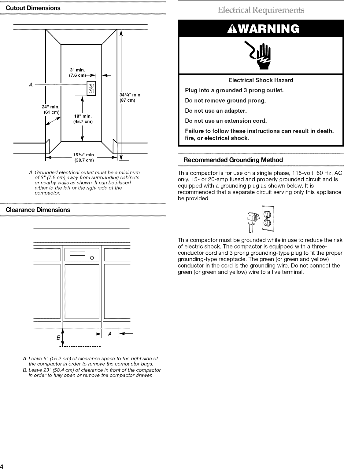 Kitchenaid Trash Compactor Repair Guide Kitchen Appliances Tips Wiring Diagram Page 4 Of 12 Kucs03ftpa1 User Manual Manuals And Guides L1003179