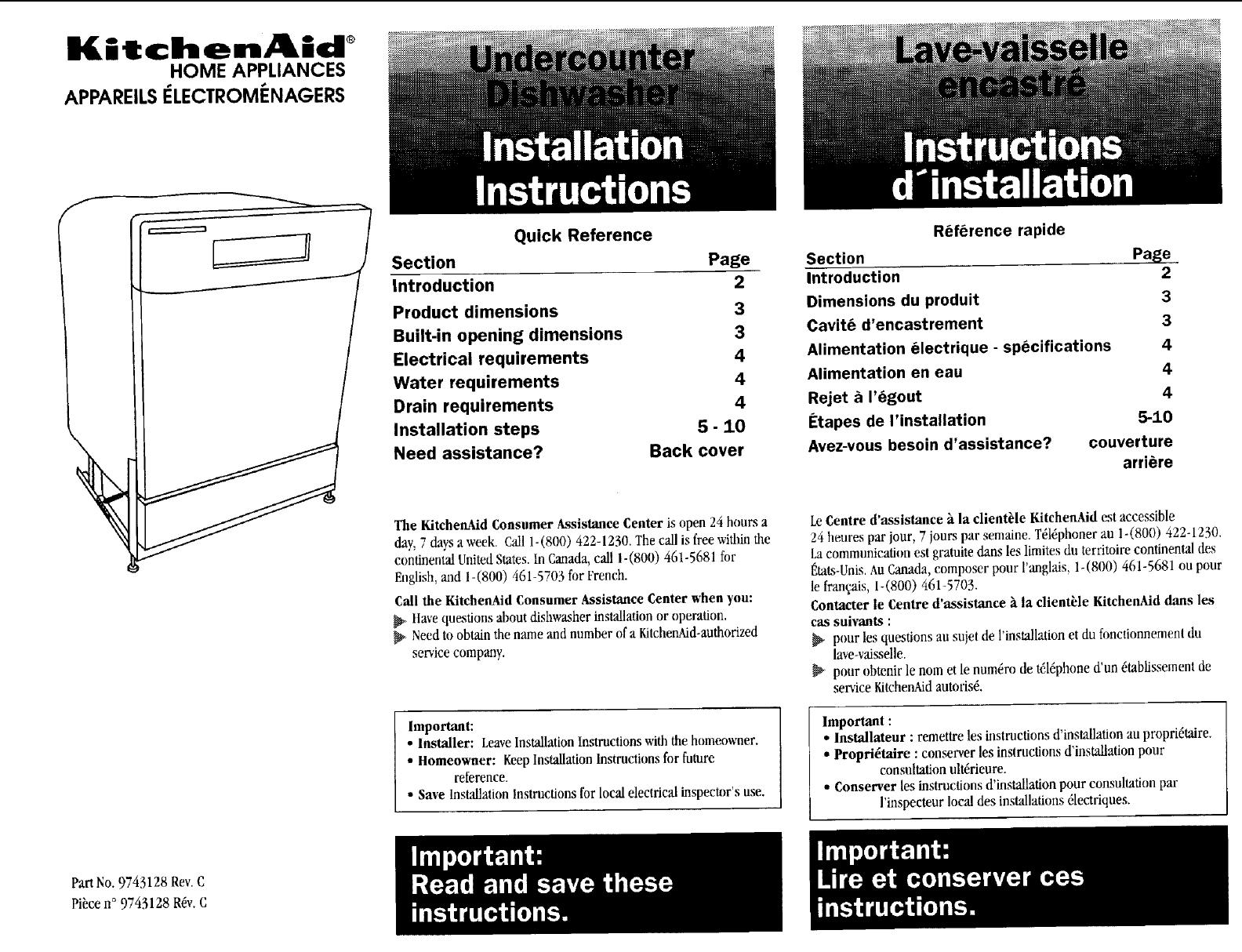 Kitchenaid Kuds24seal2 User Manual Undercounter Dishwasher Manuals Wiring Diagram And Guides L0711326
