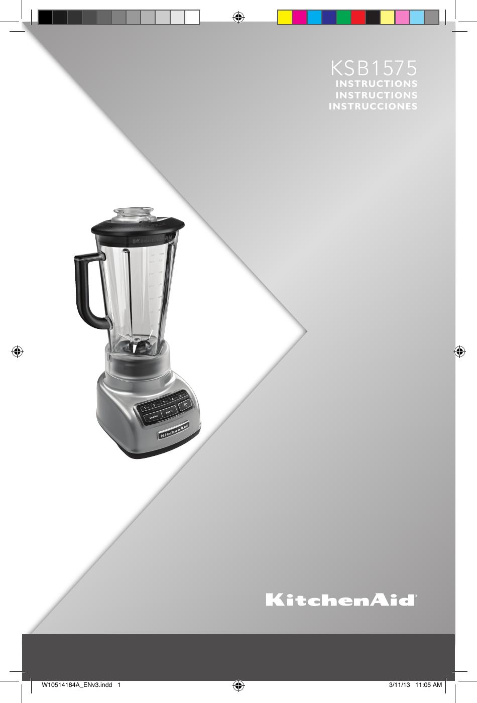 Kitchenaid 5 Speed Diamond Blender Ksb1575 Users Manual