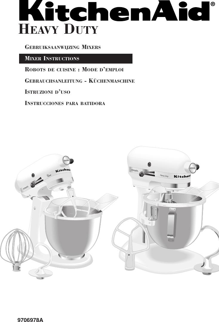 Kitchenaid Mixer 9706978A Users Manual