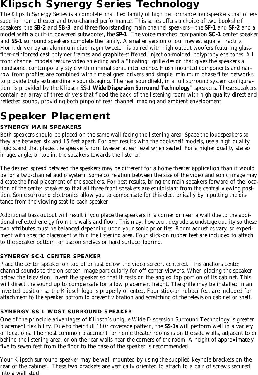 Klipsch Speaker Sb 2 Users Manual