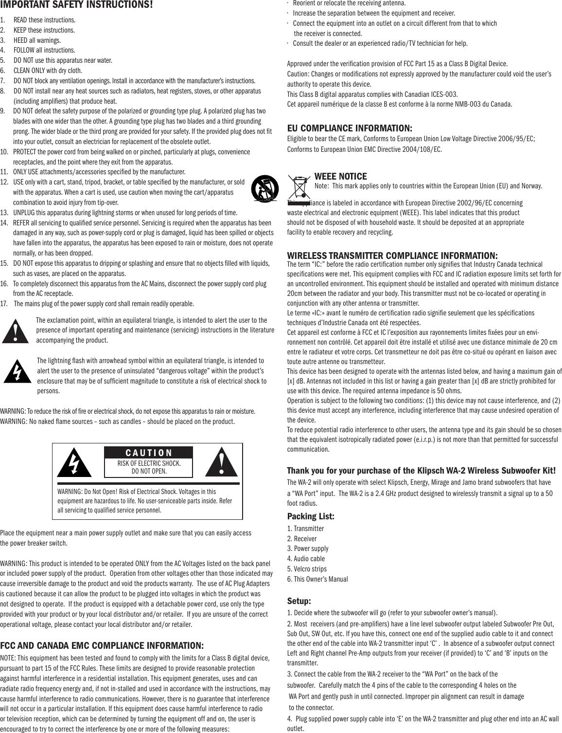 Klipsch Speaker Wa 2 Users Manual