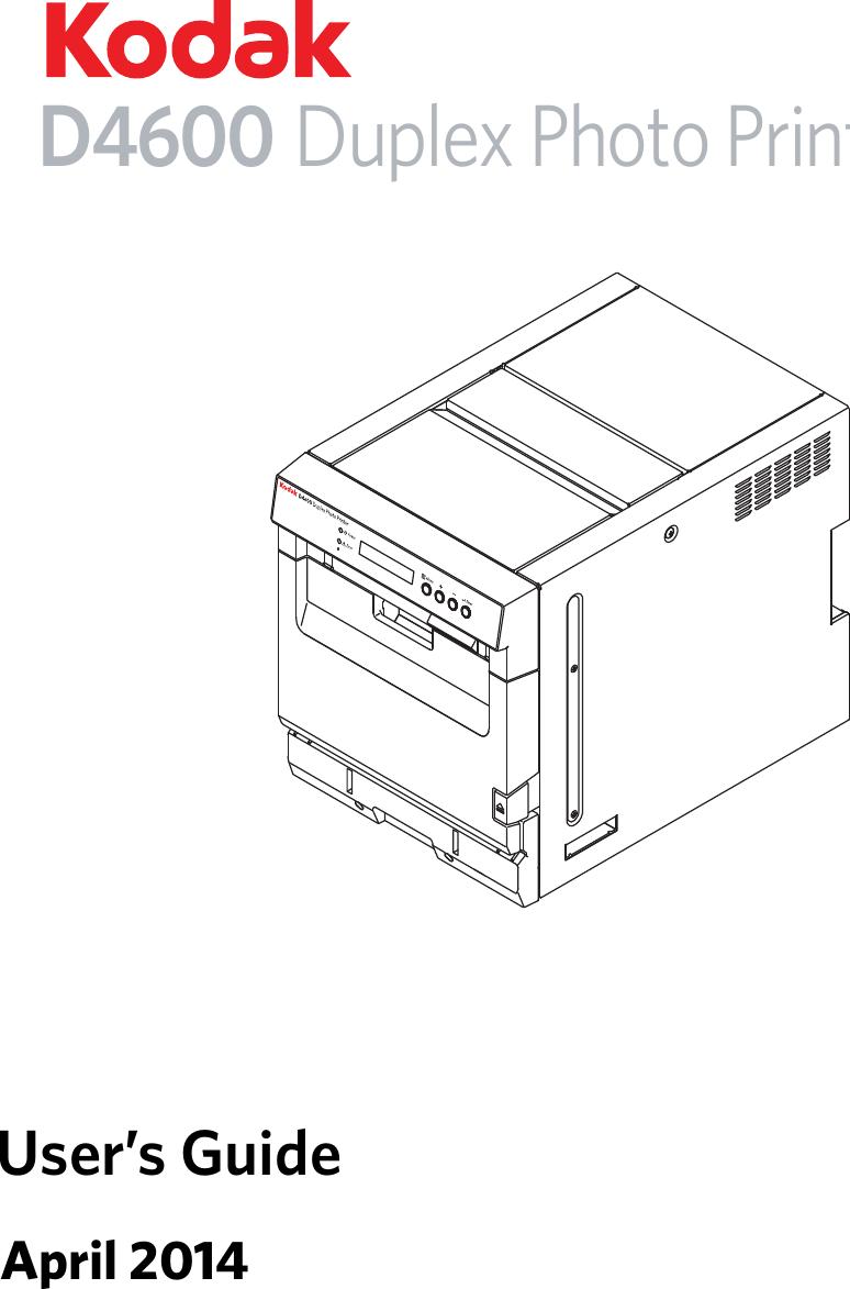 Kodak Alaris D4600 Printer Digital Photo User Manual Urg 01436 Diagram Of A April 2014d4600 Duplex Printerusers Guide
