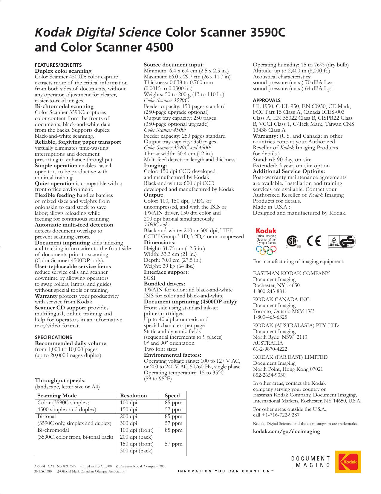 Kodak 3590C Users Manual C0200 3590C/4500CSS