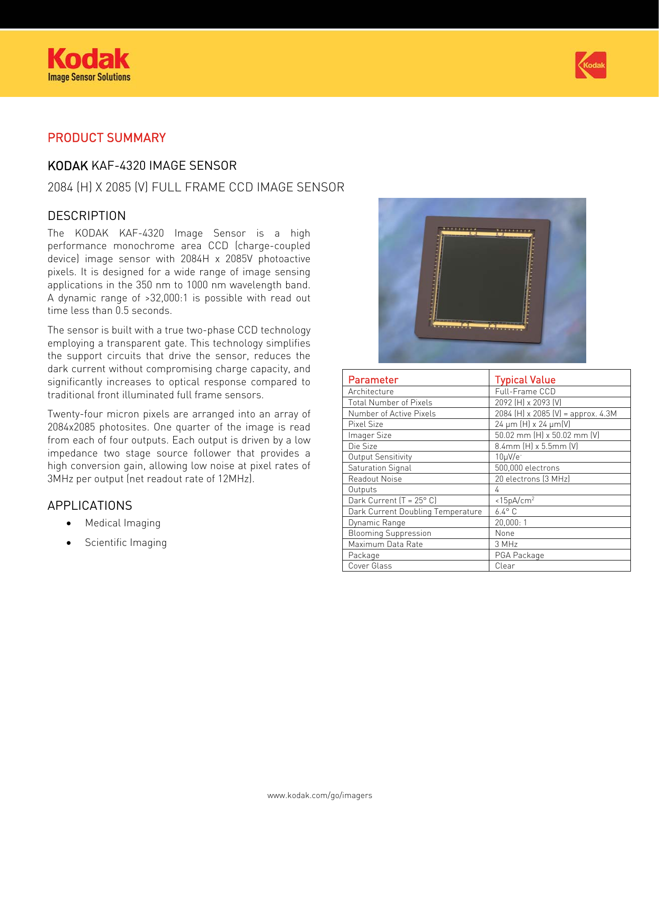 Kodak Image Sensor Kaf 4320 Users Manual APPLICATION NOTE