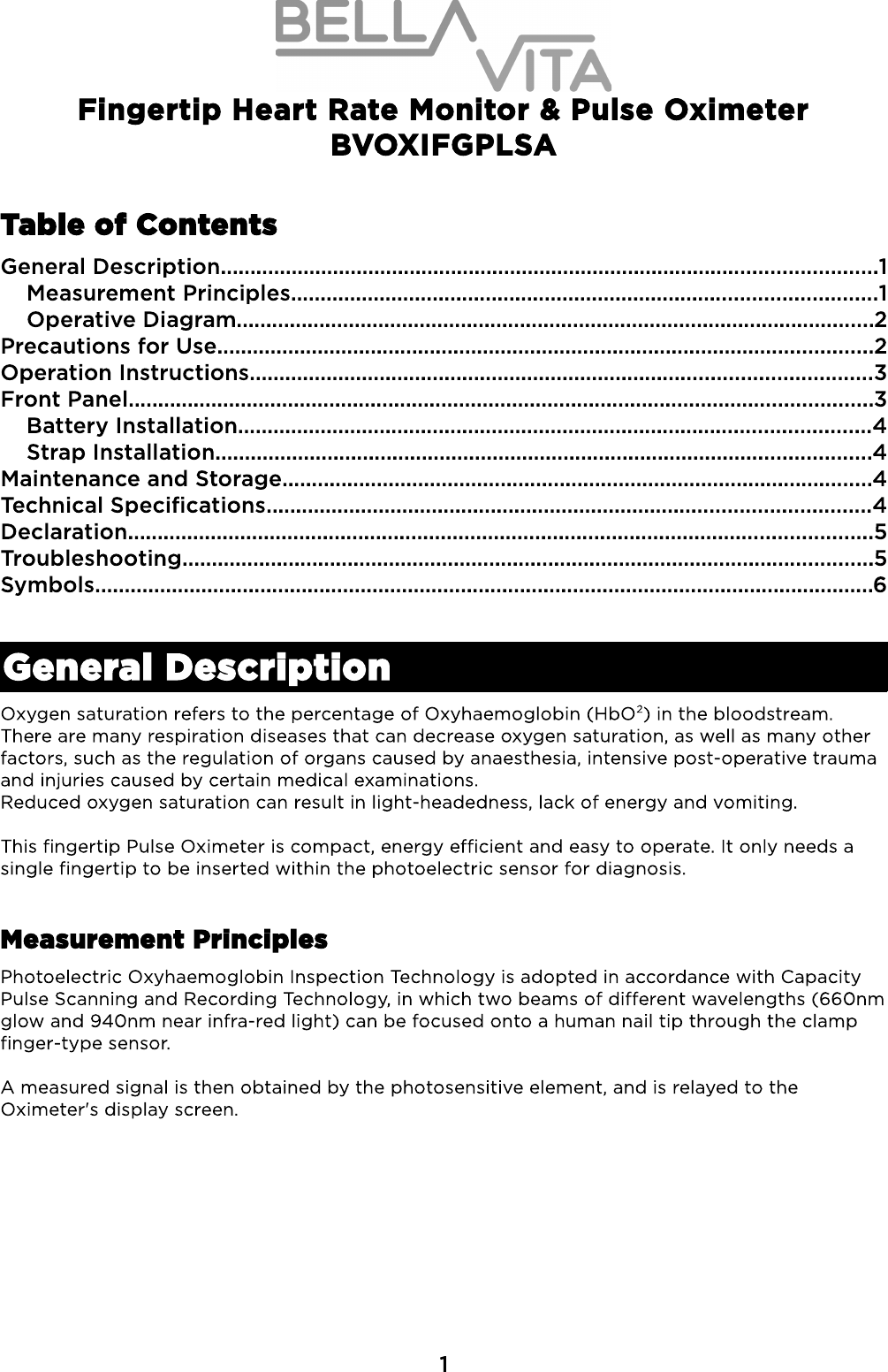 Bvoxifgplsa Fingertip Heart Rate Monitor Pulse Oximeter User Manual A Photoelectric Sensor Wiring Diagram Compact