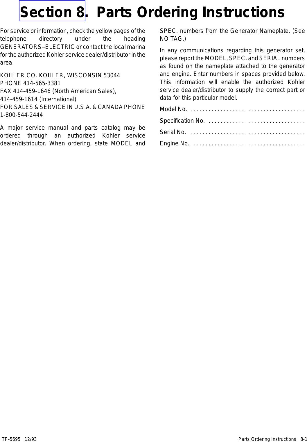 Kohler 3 5Cfz 4Cz 6 5Cz Users Manual Operation Manual, 4/6 5CZ 3 5