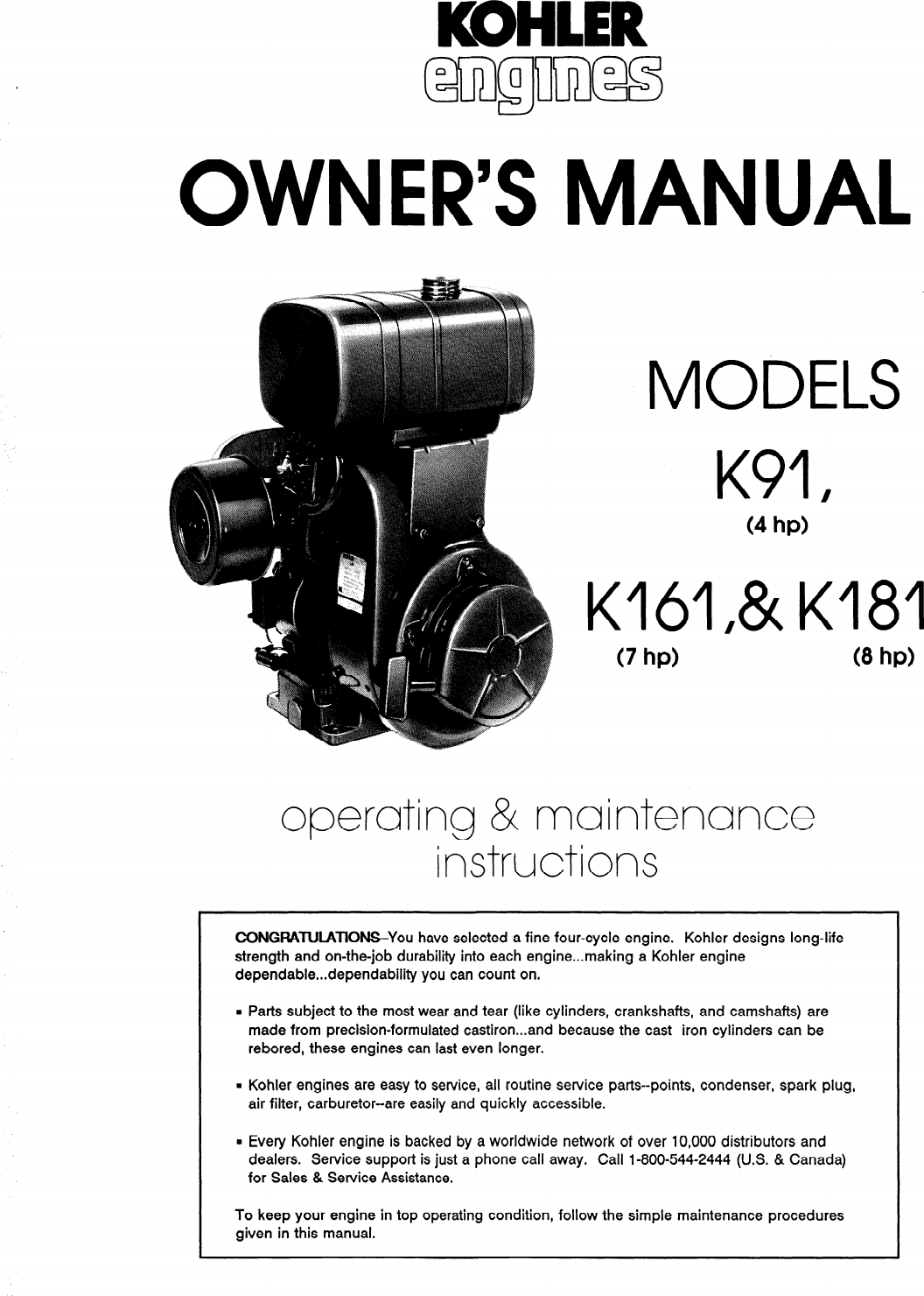 Kohler K161 Users Manual Owner's S K91, K161, & K181