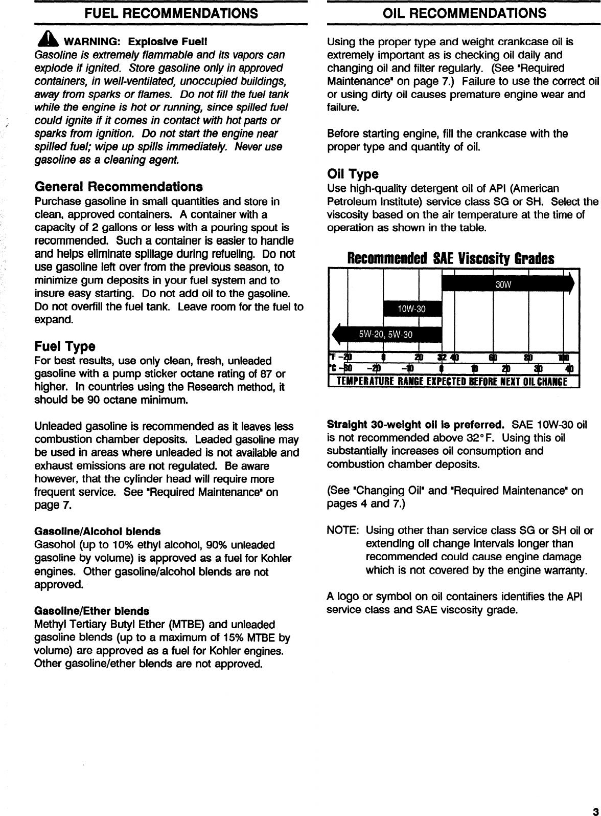 Kohler K161 Users Manual Owner's S K91, K161, & K181