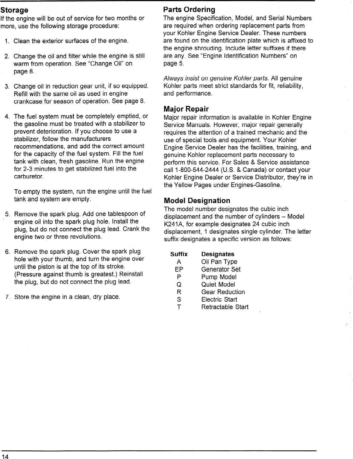 Kohler K241 Users Manual Owner's S K241, K301, K321, & K341