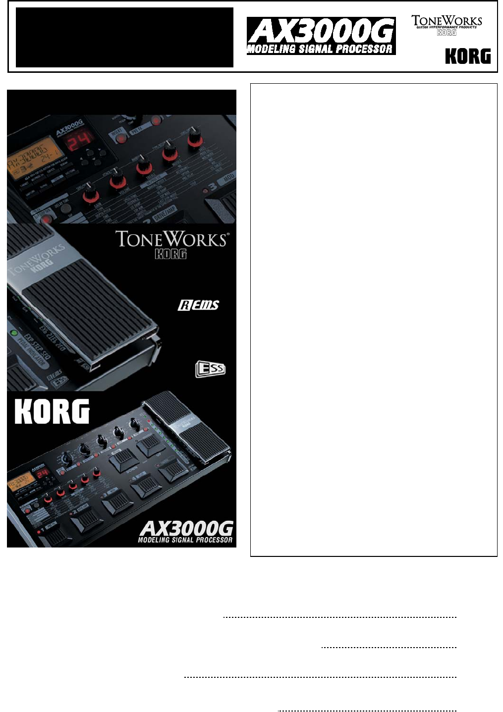 Korg ax3000g user manual | 67 pages.