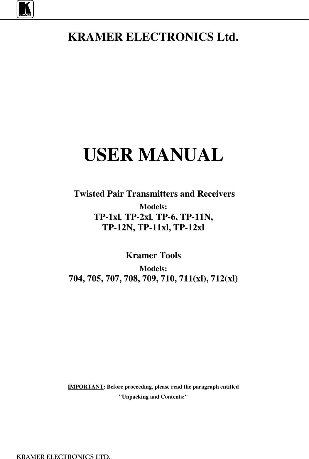 Kramer Electronics Satellite Radio Tp 1Xl Users Manual ( 1xl, 2xl ...