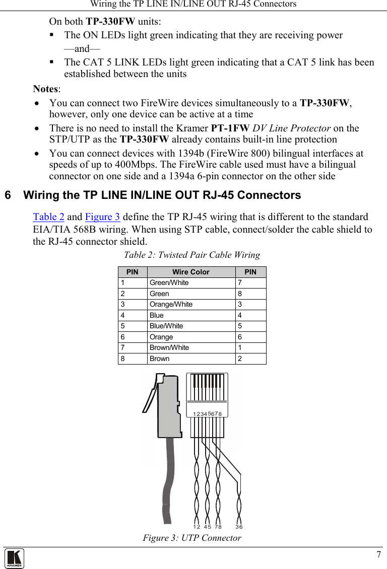 Kramer Electronics Water Heater Tp 330fw Users Manual Twisted Pair Cable Schematic Page 9 Of 12