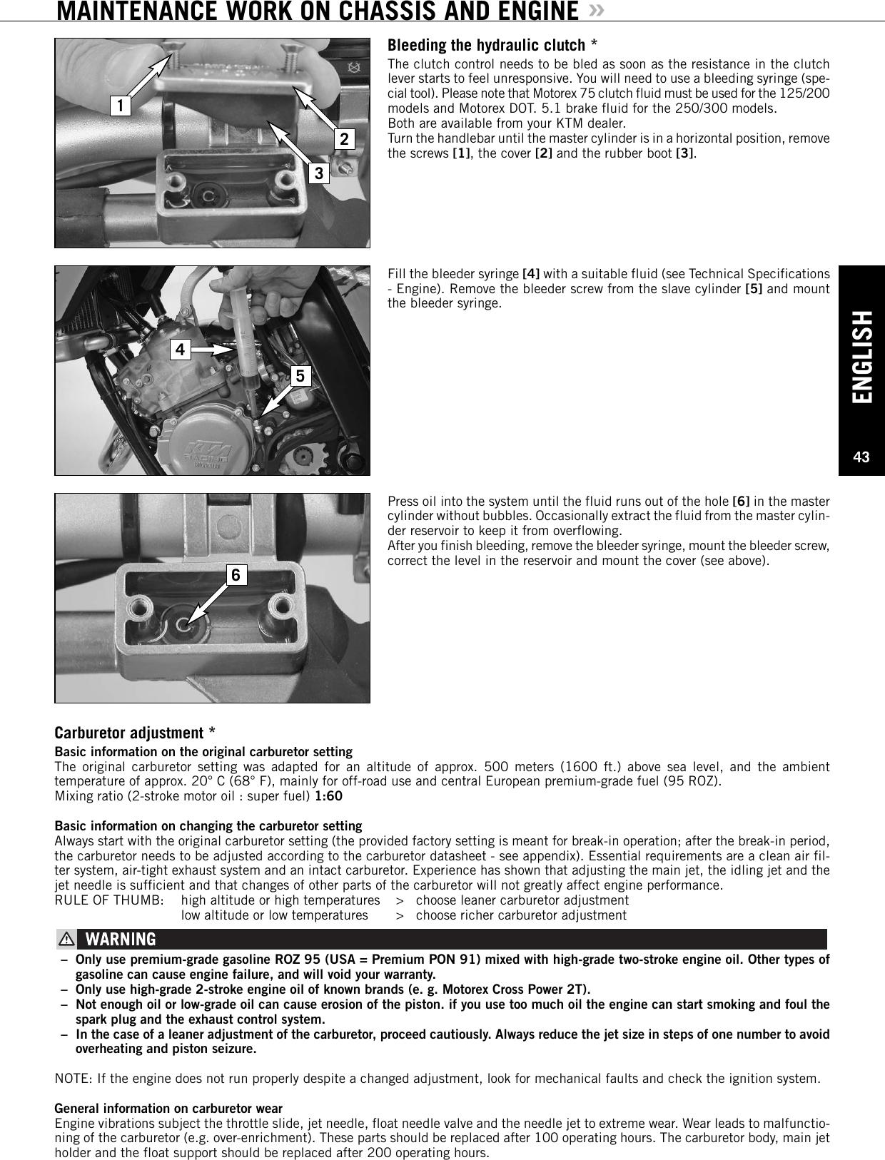 Ktm 125 Exc Six Days 200 Xc W 250 300 E Users Manual