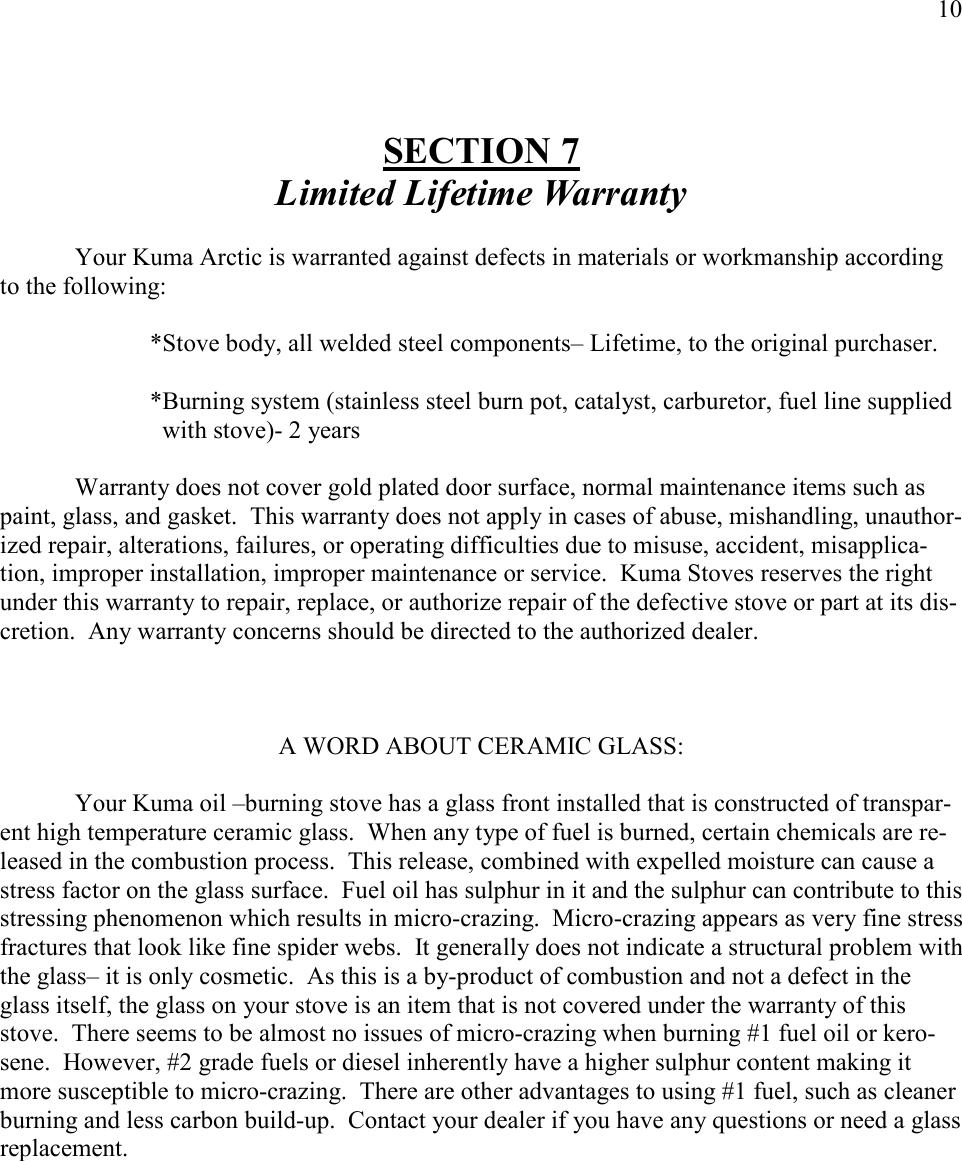 Kuma Stoves Ar 10 Users Manual Arctic