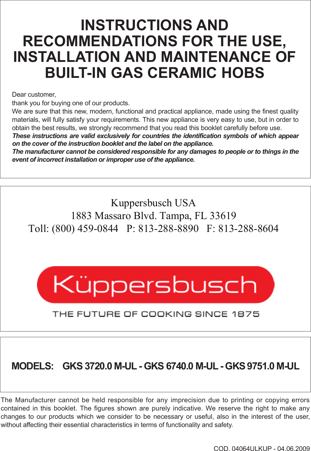 Kuppersbusch Usa Gks 3720 0 M Ul Users Manual 04064ulkup Auto Rod Controls Wiring Diagram