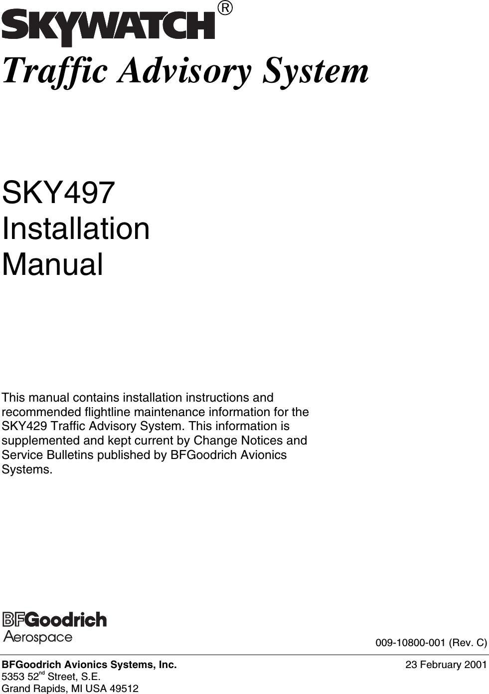 l 3 communications avionics systems trc497 skywatch traffic advisory rh usermanual wiki Operators Manual Instruction Manual Book