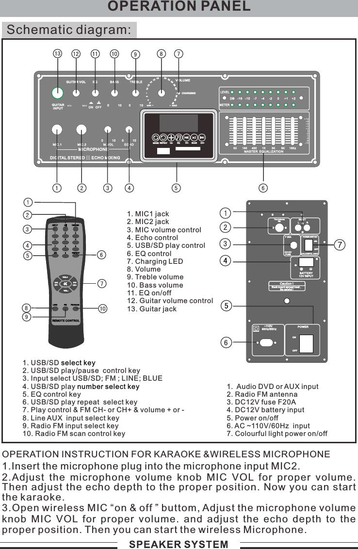Lakshmi Li S208 Speaker User Manual Usb Microphone Circuit Diagram Schematic Diagram1 Audio Dvd Or Aux Input2 Radio Fm Antenna3 Dc12v