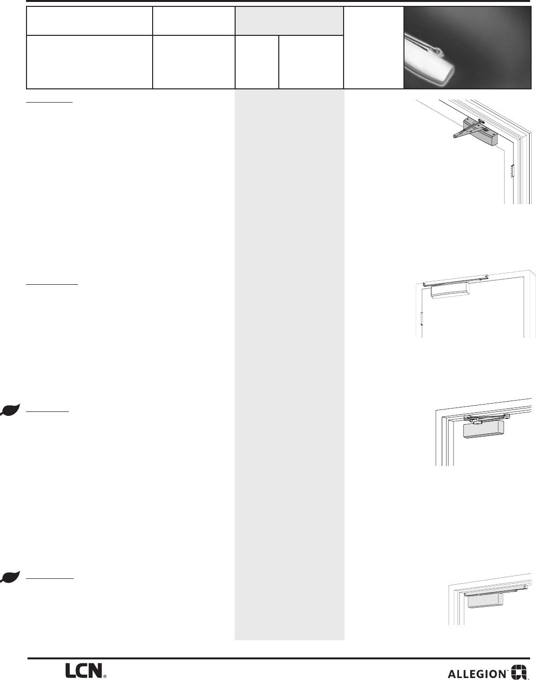 Slim Line Design Regular Arm Door Closer LCN 1461 REG- AL New WMS Screws