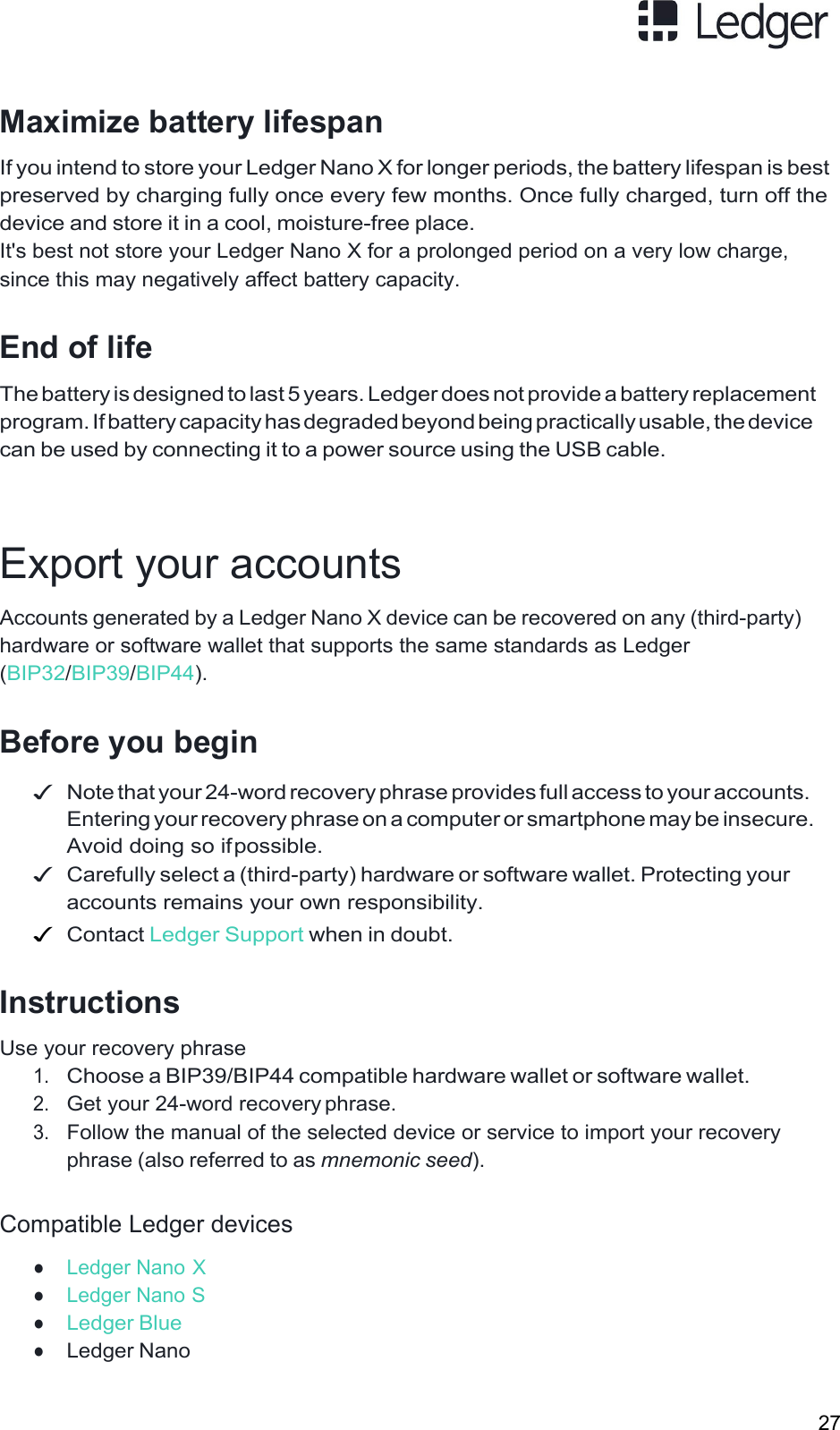 LEDGERS 0701 Bluetooth enabled Hardware Wallet User Manual